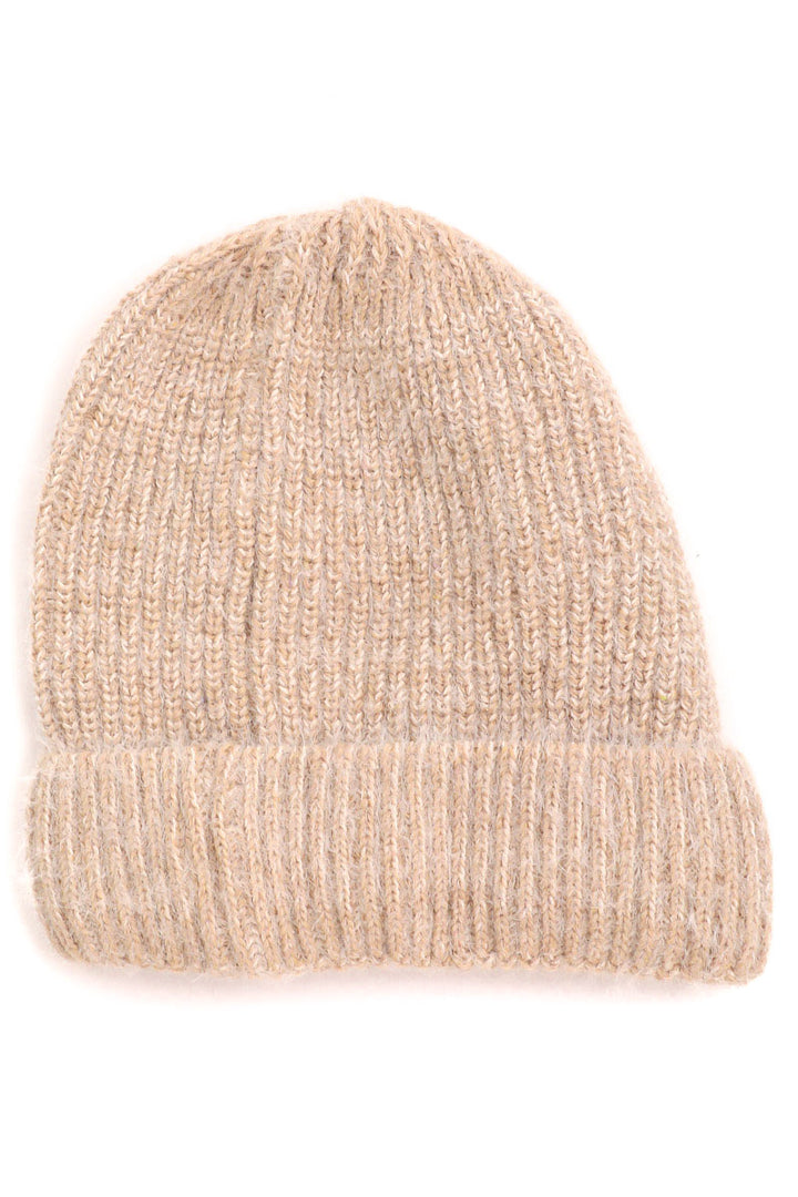 Fuzzy Ribbed Beanie | Ivory - West of Camden