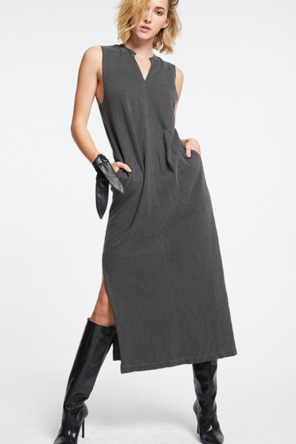 Tessa Split Neck Tank Dress | F. Black - West of Camden