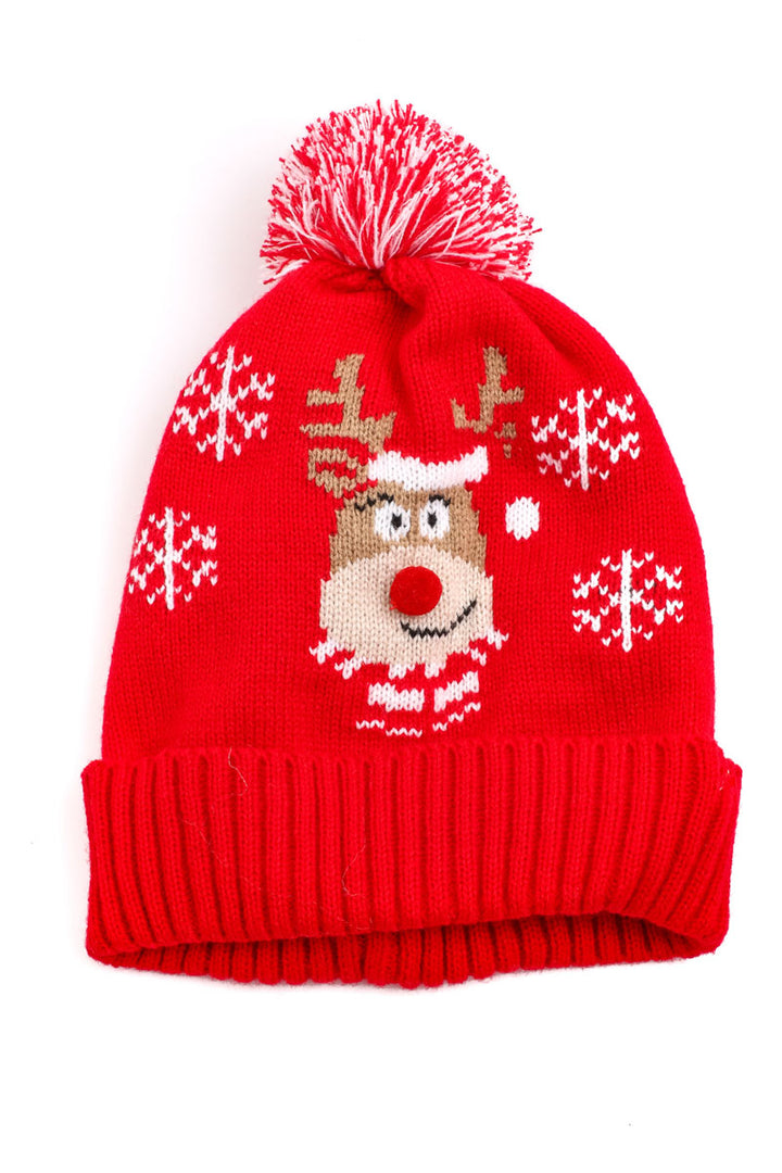 Reindeer Beanie | Red - West of Camden