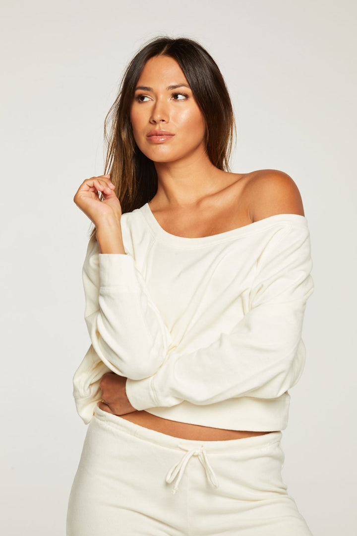 Cropped Batwing Raglan Pullover | Cream