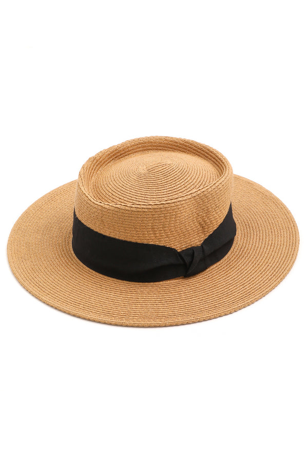 Flat Top Straw Hat | Tan - West of Camden