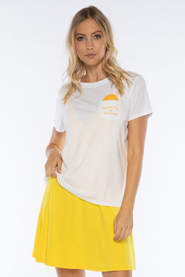 Pocketful of Sunshine Loose Tee | White - West of Camden