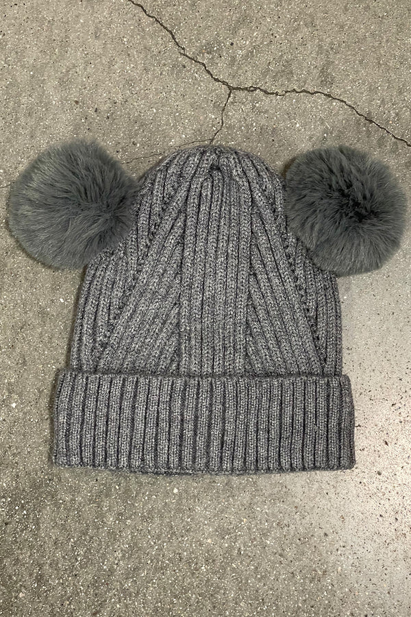 Kids Puff Beanie | Grey