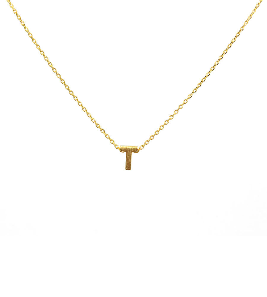 Initial Necklace Gold T