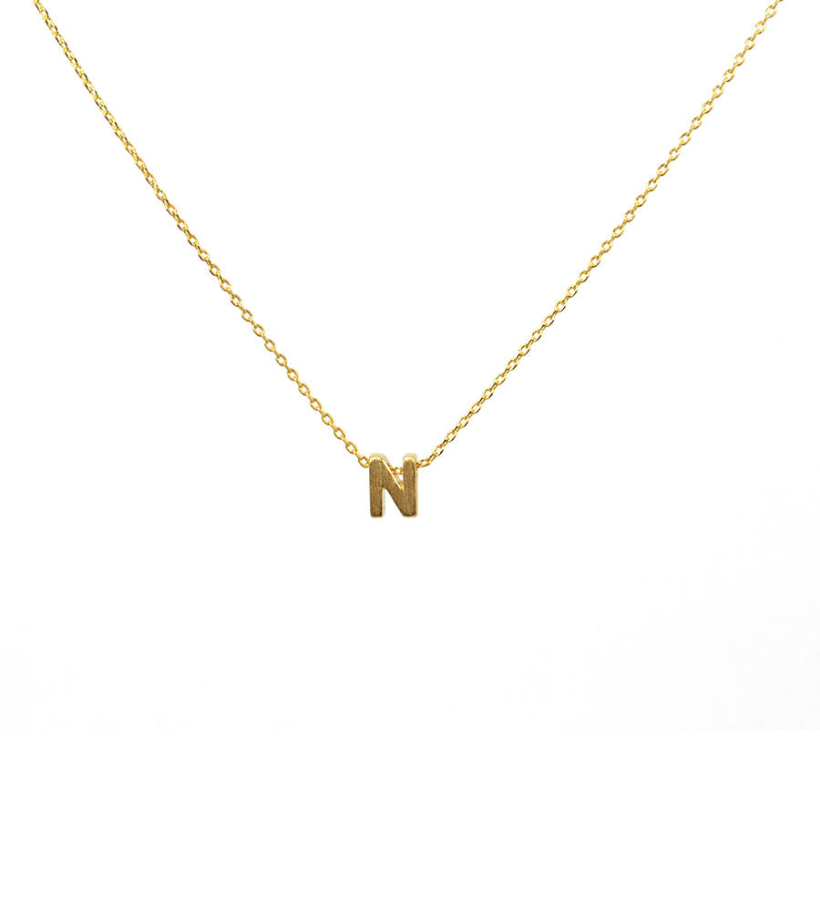 Initial Necklace Gold N - West of Camden
