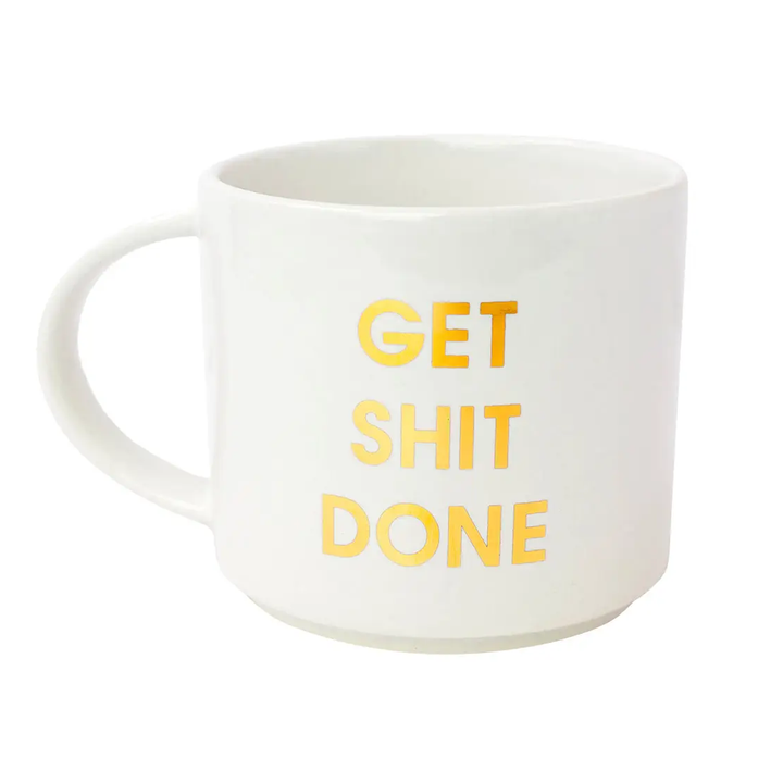 Get Shit Done Stackable Mug | White Gold