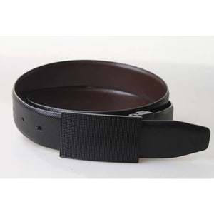 Leather Reversible Plaque Belt | Black - West of Camden