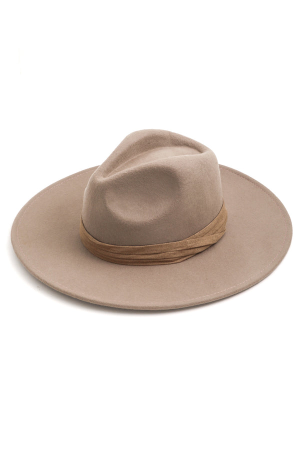 Wool Flat Brim Hat | Taupe - West of Camden