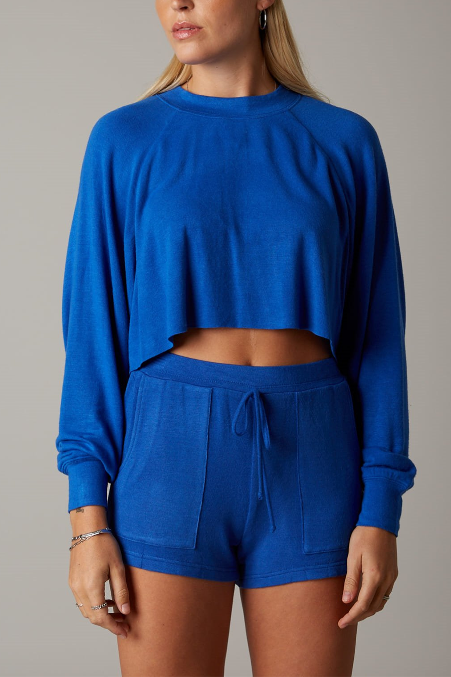 Soft Crop Pullover | Cobalt - West of Camden