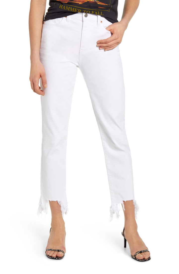 Straight Up High Rise Denim | White