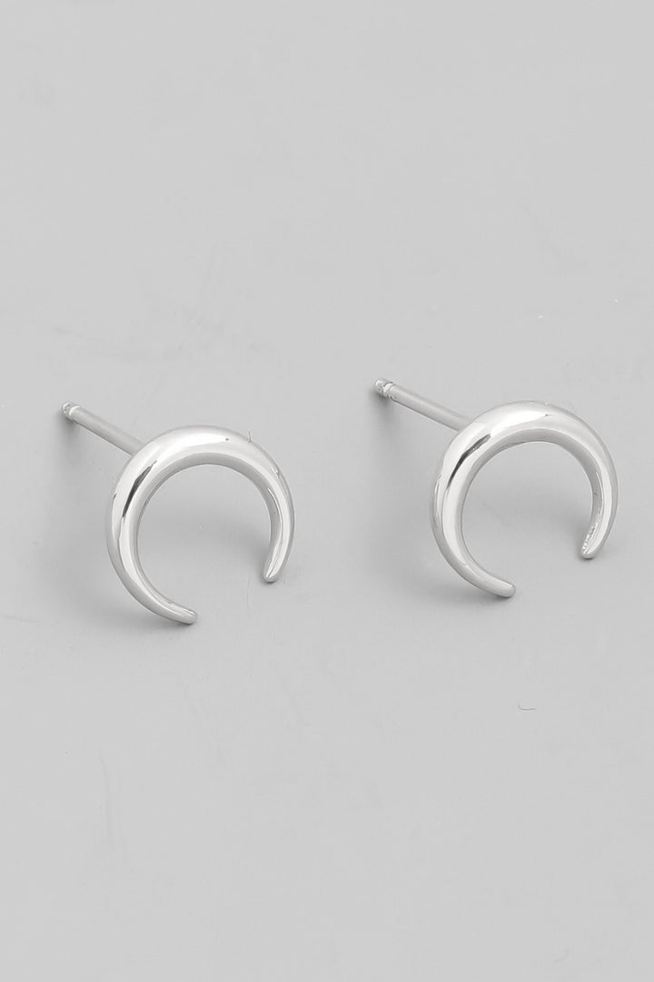 Mini Crescent Moon Studs | White Gold - West of Camden