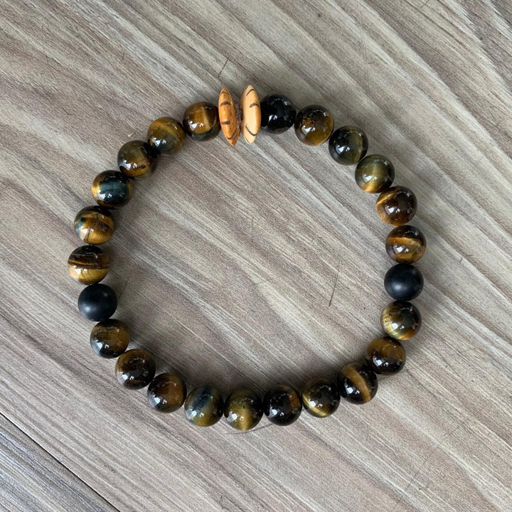 Roots Bracelet | Blue Tiger Eye + Bone Saucer - West of Camden