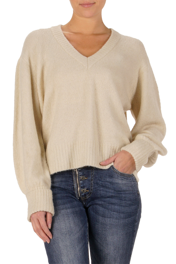 V Neck Sweater | Natural