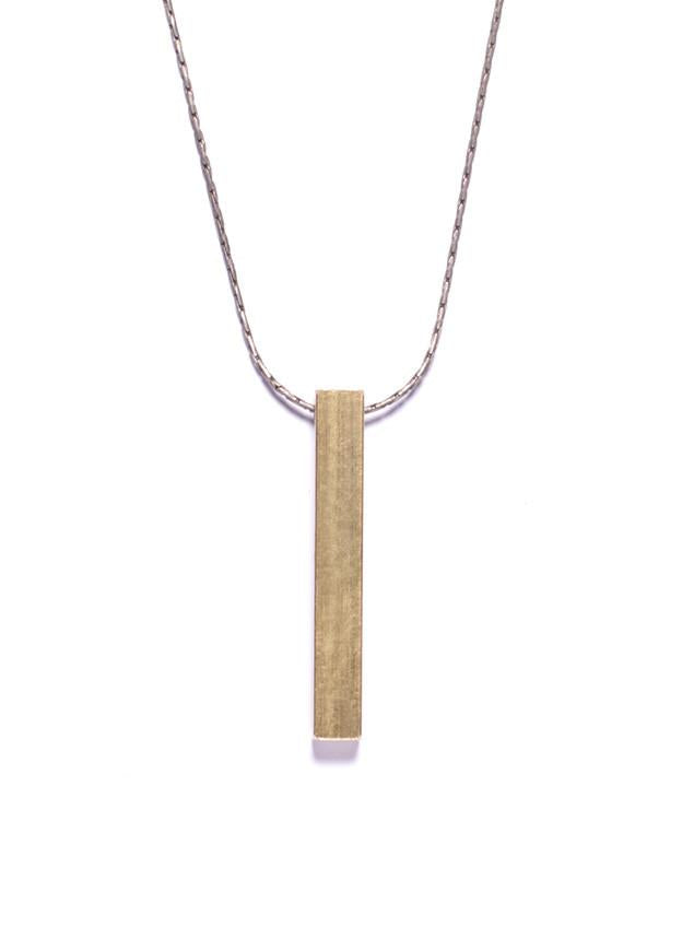 Medium Brass Bar Necklace - West of Camden