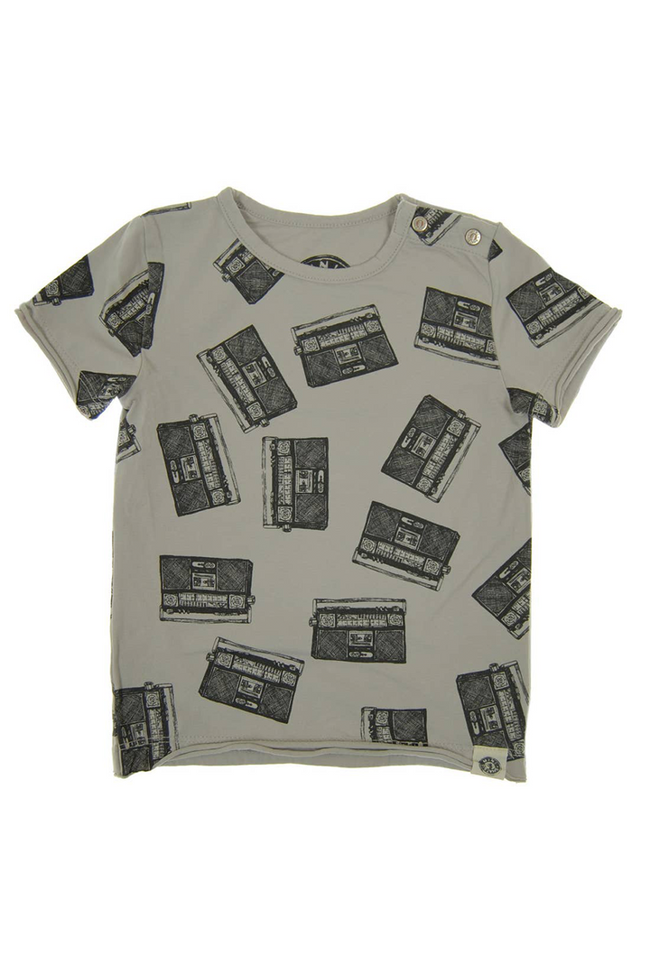 Allover Boom Box Kids Tee | Grey