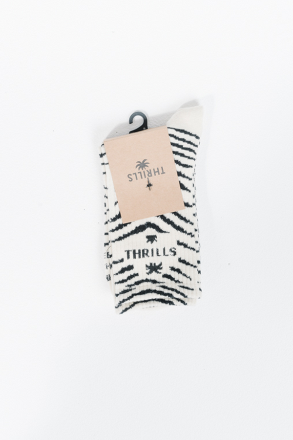 Zebra Lounge Socks | Thrift White