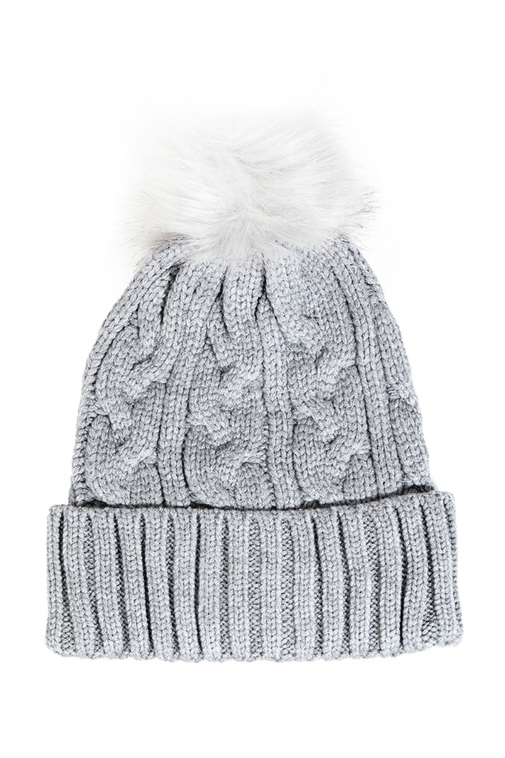 Ribbed Knit Pom Beanie | Grey