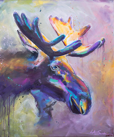 "I Saw... a Moose | 20"" X 24"" - LA Smith Art"