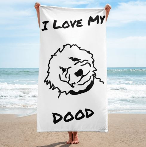 Goldendoodle White Beach Towel