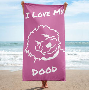 Goldendoodle Pink Beach Towel - Zabbow Goldendoodle Pet Products