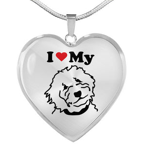 I Love My Goldendoodle Heart Necklace - Silver - Zabbow Goldendoodle Pet Products