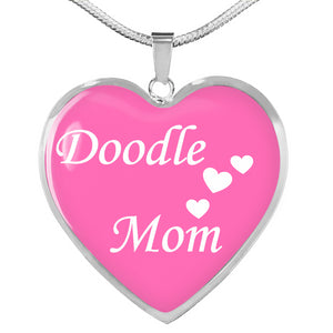 Doodle Mom Heart Necklace - Pink and White - Zabbow Goldendoodle Pet Products