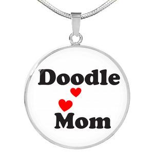 Doodle Mom Round Necklace - Black on White - Zabbow Goldendoodle Pet Products