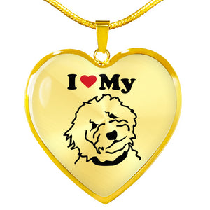 Goldendoodle Heart Necklace - Gold - Zabbow Goldendoodle Pet Products