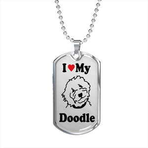 Goldendoodle Dog Tag and Chain - Silver - Zabbow Goldendoodle Pet Products