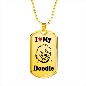 Goldendoodle Dog Tag and Chain - Gold - Zabbow Goldendoodle Pet Products