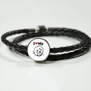 Circle Charm Real Leather Woven Bracelet - Zabbow Goldendoodle Pet Products
