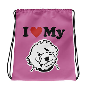Goldendoodle Pink Drawstring bag - Zabbow Goldendoodle Pet Products