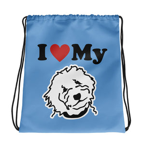 GoldenDoodle Blue Drawstring bag - Zabbow Goldendoodle Pet Products