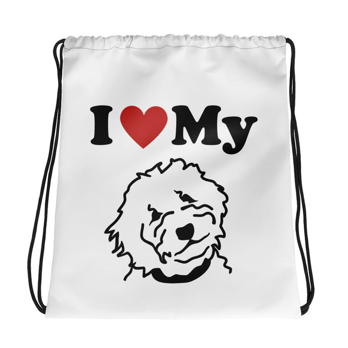 Goldendoodle White Drawstring Bag