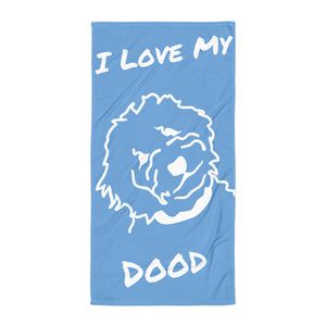 Goldendoodle Light Blue Beach Towel - Zabbow Goldendoodle Pet Products