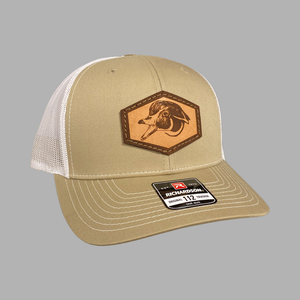 Leather Patch Woody Hat (Tan/White)