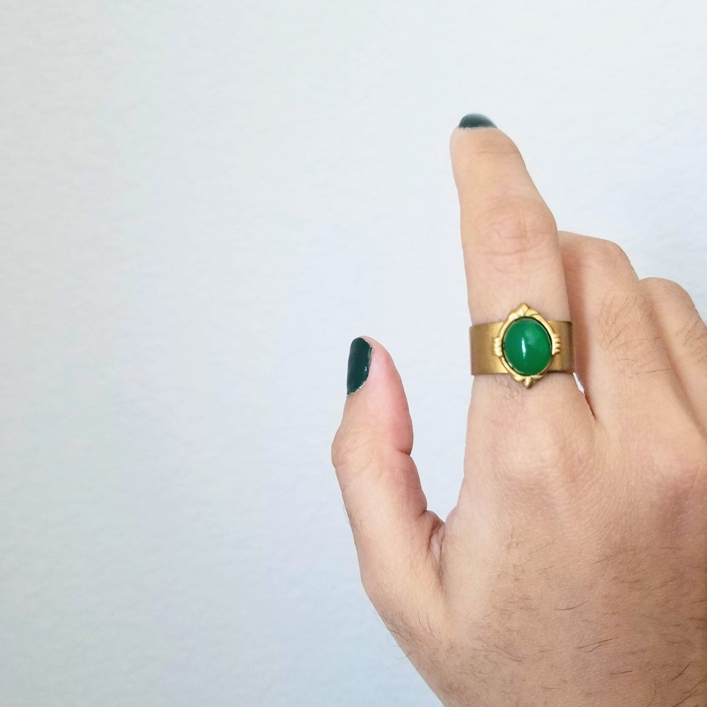 Thrive Onyx Ring | Gold - FYU DESIGNS