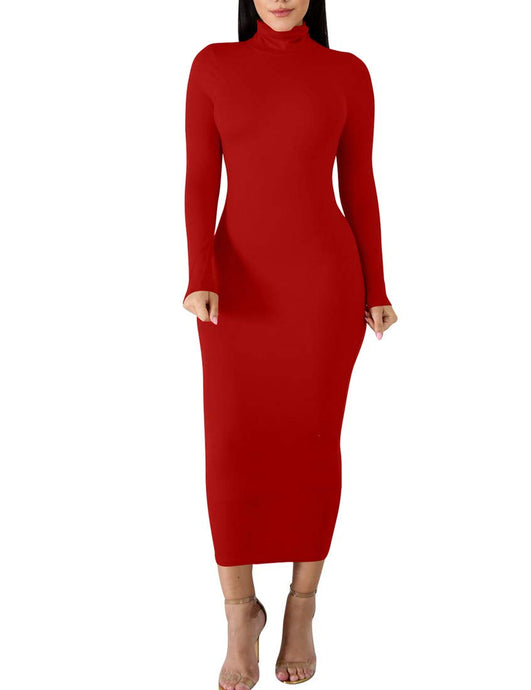 Amazon BORIFLORS Women's Basic Long Sleeve Turtleneck Bodycon Party Long Pencil Dress