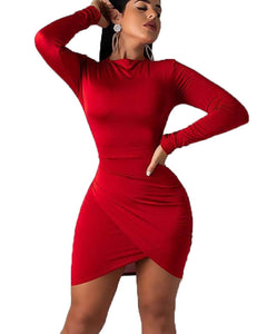 BORIFLORS Women's Sexy Wrap Front Long Sleeve Ruched Bodycon Mini Club Dress,Medium,Red