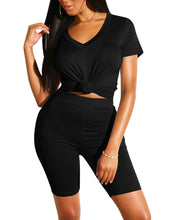 Load image into Gallery viewer, BORIFLORS Women's Causal 2 Piece Outfits Romper V Neck Tops Shorts Set Sexy Club Jumpsuit,Medium,Black
