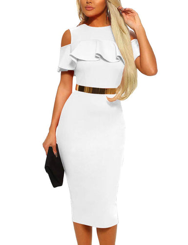 Mizoci Women's Sexy Cold Shoulder Ruffle Bodycon Evening Party Club Midi Dress,Medium,White