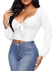 Mizoci Women's Sexy Tie Up Crop Top Casual Long Sleeve Ribbed Bodycon T Shirt Top,Small,White