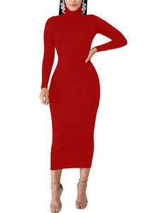 BORIFLORS Women's Sexy Basic Long Sleeve Turtleneck Bodycon Party Long Pencil Dress,Large,Red