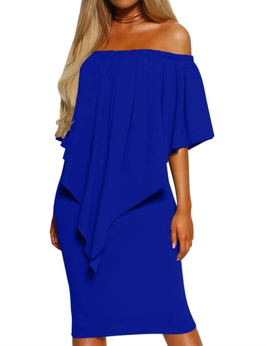 Mizoci Women's Sexy Off Shoulder Ruffles Bodycon Midi Cocktail Party Dresses,XX-Large,Royal Blue