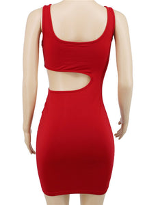 Mizoci Women's Sexy Cut Out V Neck Sleeveless Bodycon Mini Club Tank Dress,Small,Red