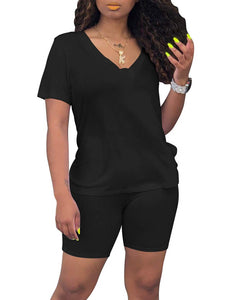 BORIFLORS Women's Causal 2 Piece Outfits Romper V Neck Tops Shorts Set Sexy Club Jumpsuit,Medium,Black