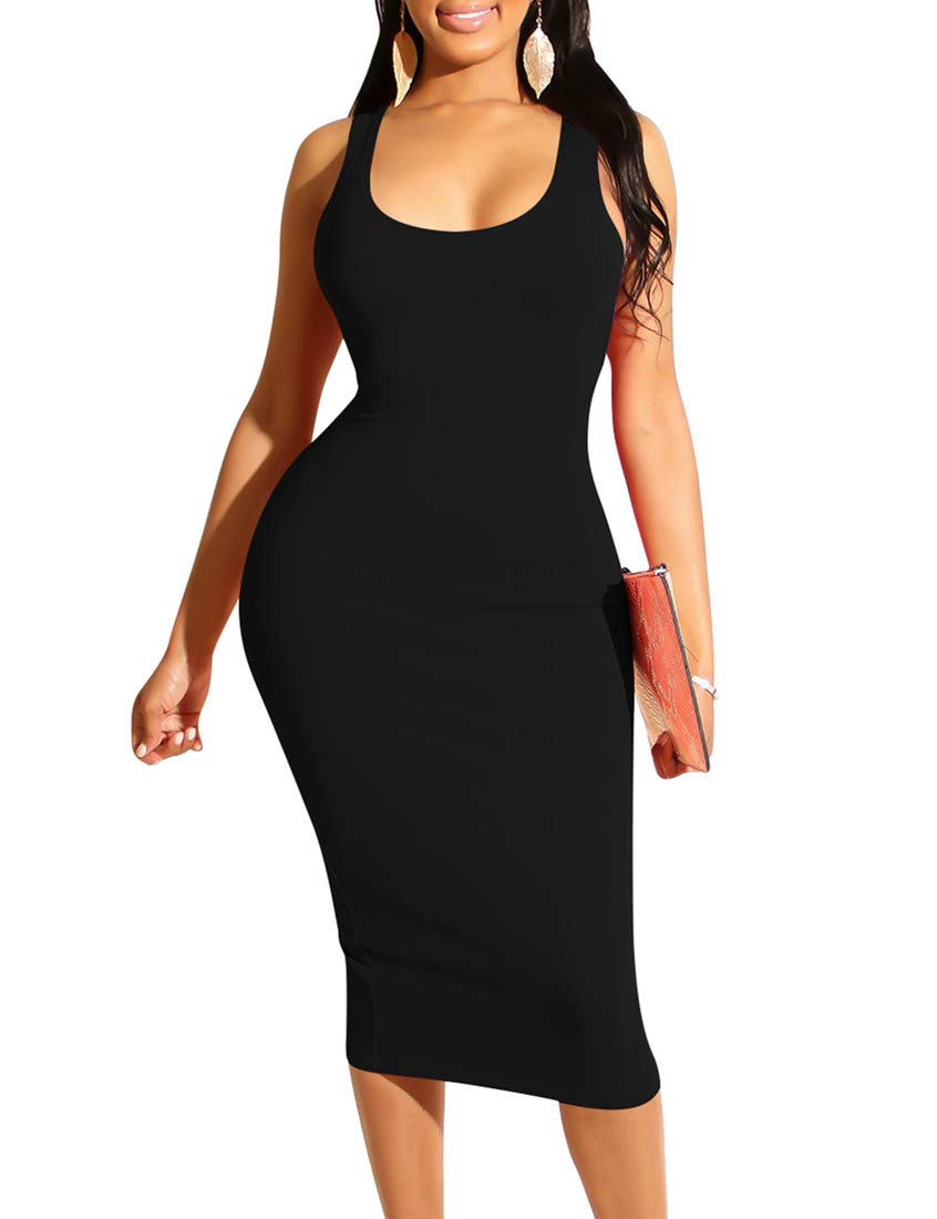 Mizoci Women's Basic Casual Midi Tank Dresses Sexy Sleeveless Square Neck Bodycon Club Dress,X-Large,Black