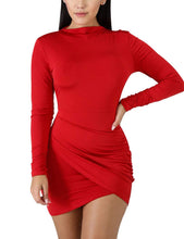 Load image into Gallery viewer, BORIFLORS Women's Sexy Wrap Front Long Sleeve Ruched Bodycon Mini Club Dress,Medium,Red