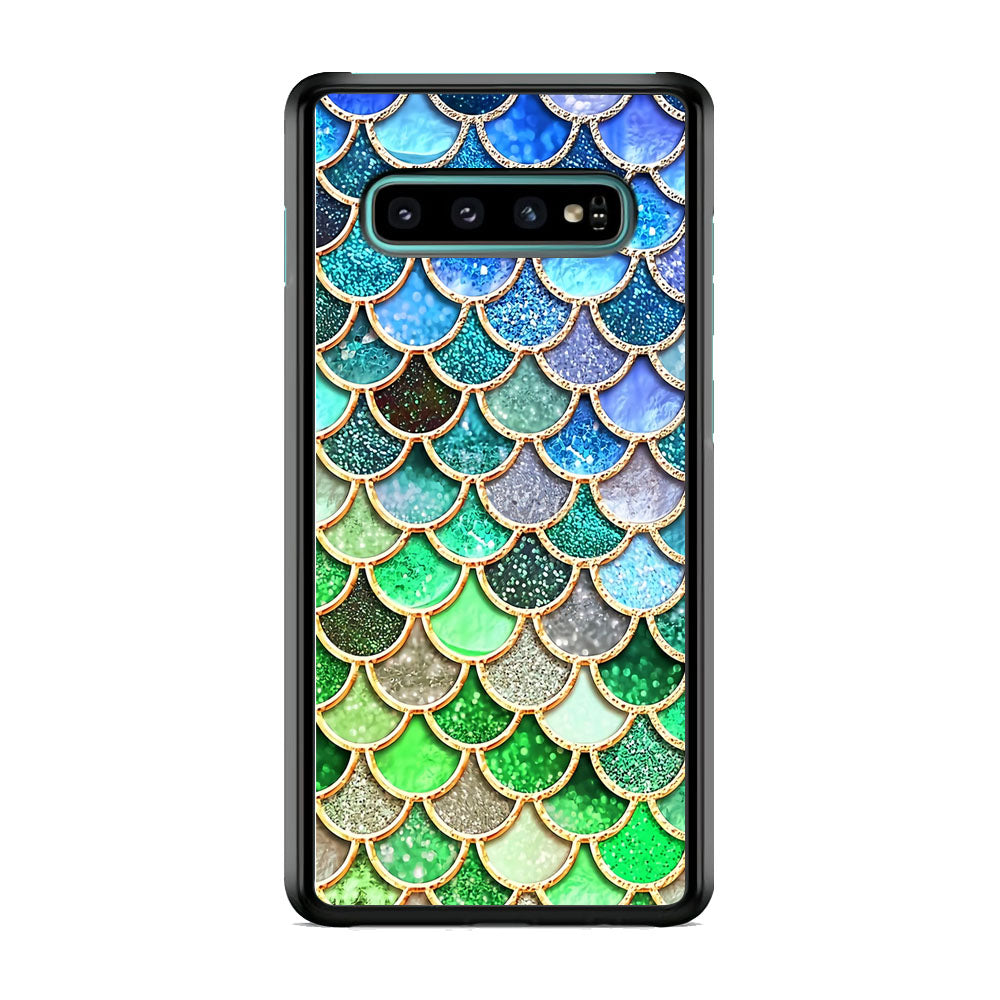 Mermaid Blue Green Shiny Shell Samsung Galaxy S10 Plus Case
