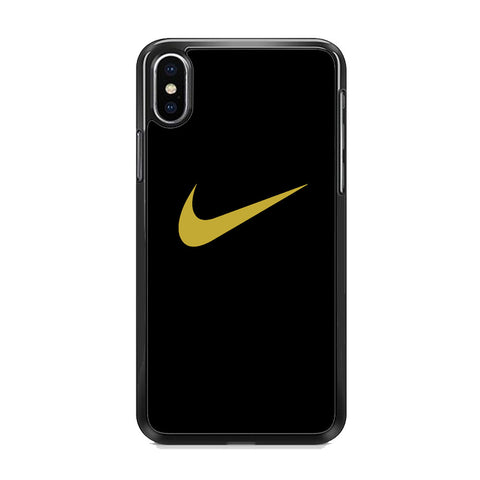 Nike Gold Logo Black iPhone XS Case